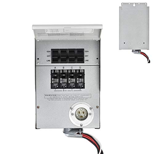 Nature's Generator Power Transfer Kit 4 Circuits, 15Amps, Indoor Manual Switch, 10 Foot 3 x 14 AWG Power Cord for Nature's Generator to Connect Inhouse Breaker Panel