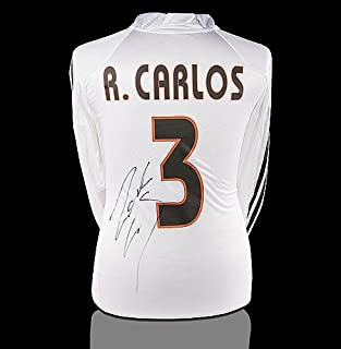Roberto Carlos Back Autographed Signed Real Madrid 2004-05 Home Shirt - Certified Authentic Soccer Signature