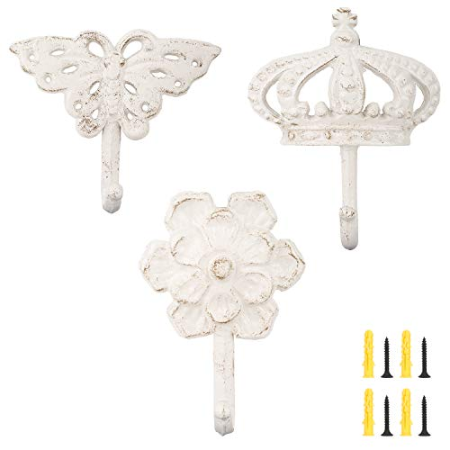 Lewondr Shabby Chic Cast Iron Decorative Wall Hooks, 3 Pieces Retro Rustic Wall Hanger Brackets Country Style Decor with Sraws and Anchors Antique Hanging Hook - Butterfly Crown Flower, Vintage White