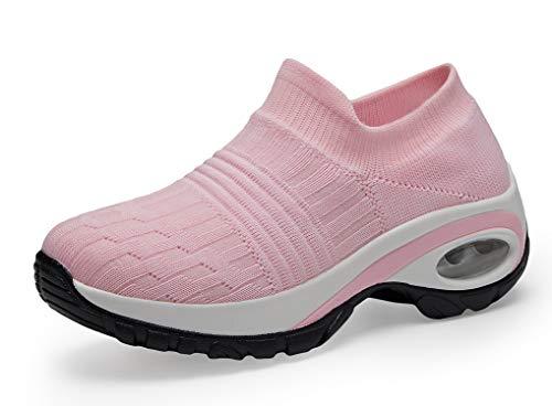 adituob Damen Laufschuhe Bequem Mesh Socke Sportschuhe Air Leichte Slip On Turnschuhe Pink EU42