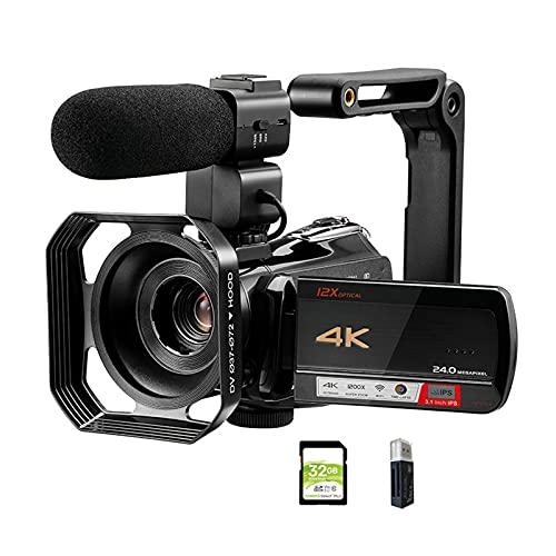 tquuquu Cámara De Video Videocámara, Cámara De Vlogs Videocámara De Video 4k Professional para Youtube Blogger 12x Zoom Óptico Cámaras De Fotografía Digital