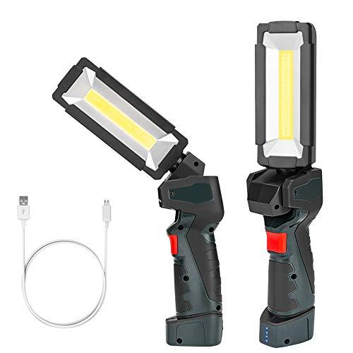 Coquimbo Lampada da Lavoro, LED Lampade di Ispezione Ricaricabile COB, Luce di Lavoro LED Torcia con Gancio per Campeggio Riparazione Auto Garage Emergenza Workshop(2 Pack)