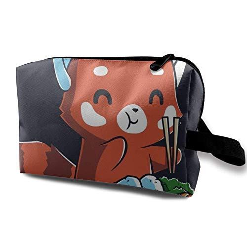 XCNGG Bolsa de almacenamiento de maquillaje de viaje, bolso de aseo portátil, pequeña bolsa organizadora de cosméticos para mujeres y hombres, panda rojo comiendo ramen