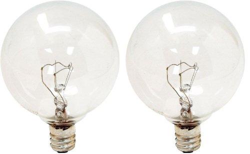 GE Lighting 23091 60-Watt Candelabra Base 600-Lumen G16.5 Globe Light Bulb, Crystal Clear, 2-Pack