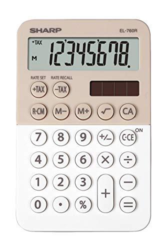 Sharp EL-760 R-rekenmachine met laser, 8-cijferig geheugen, 3 toetsen, op zonne-energie en op batterijen, latte