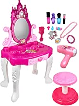 Pretend Play Vanity Set for Little Girls with Mirror and Makeup Table for Kids Beauty Set with Fashion & Makeup Accessories