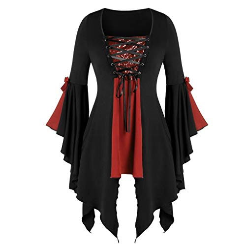 WooCo Women Halloween Gothic Witch Costume Tops Plus Size Sexy Lace Up Patchwork T Shirt Dress Tunic Blouses Cosplay Red