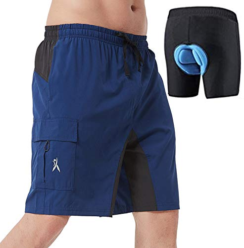 Mens Mountain Bike Biking Shorts, Bicycle MTB Shorts, Loose Fit Cycling Baggy Lightweight Pants (Blue XL)