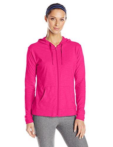 Hanes Women's Jersey Full Zip Hoodie, Amaranth, XX-Large