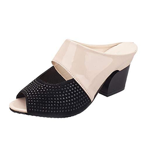 DIPOLA Frauen Sandalen Mode Candy Farbe passenden Farbe Fischmaul dick mit High Heels Hausschuhe Damen Elegant Schuhen mit Hohen Absätzen Hausschuhe bequem und atmungsaktiv