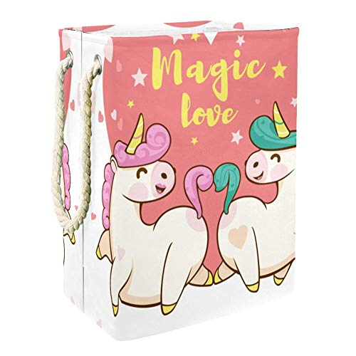 MUOOUM Cesta plegable impermeable para ropa sucia, para ropa sucia, para el día de San Valentín, diseño de unicornio
