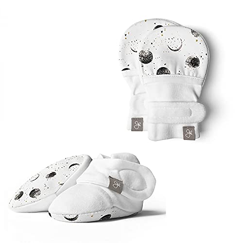 Product Image of the Baby Booties & Mittens Bundle, Adjustable Soft & Secure (Many Moons 0-3M)