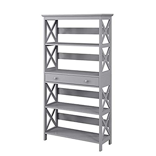 Convenience Concepts Oxford 5 Tier Bookcase with Drawer, Gray