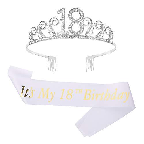 Rubywoo&chili 18 Tiara Krone Geburtstag Mädchen, Glitter Krone Strass Kristall mit Geburtstag Schärpe Satin für Mädchen Geburtstag Birthday Party Accessoires