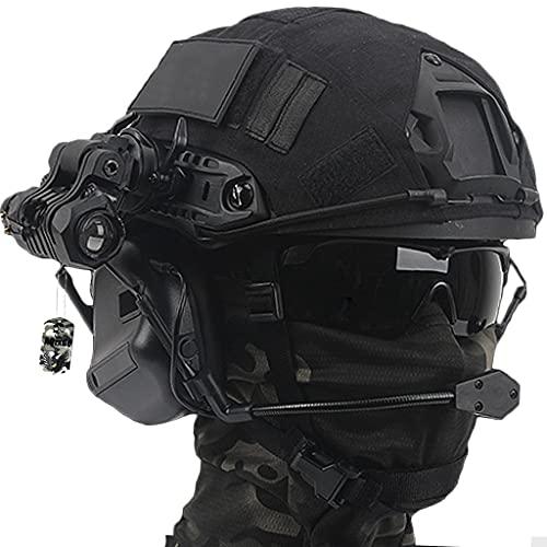 AQzxdc Airsoft Helm Set, mit Taktischem Headset & Brille & NVG Halterung & Teleskop Modell Tactical Gear Kombination, Für Outdoor Paintball Schutzjagd,Sets b,L