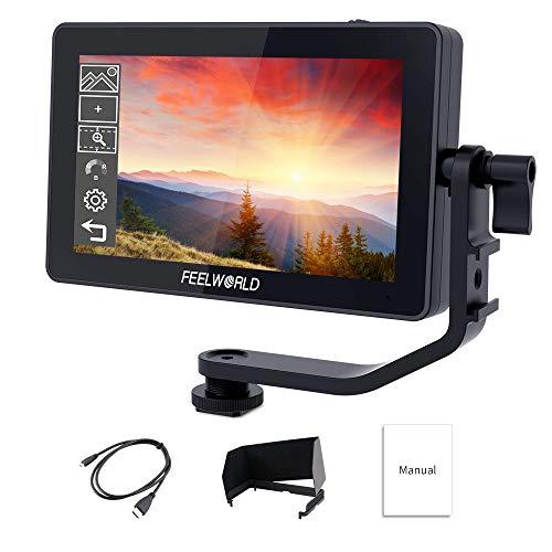 Feelworld F6 Plus 5.5 Zoll DSLR Kamera Field Monitor Touch Screen 3D Lut Small Full HD 1920x1080 IPS Video Peaking Focus Assist mit 4K HDMI 8.4V DC Input Output Gehören Tilt Arm