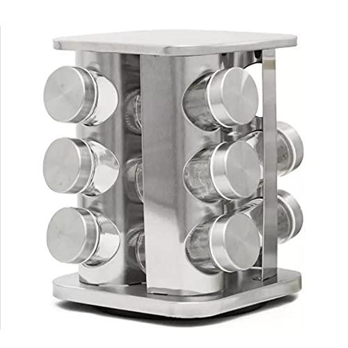 Porta Condimentos Giratório Inox Quadrado 12 Potes Vidro- ZHEN KANG