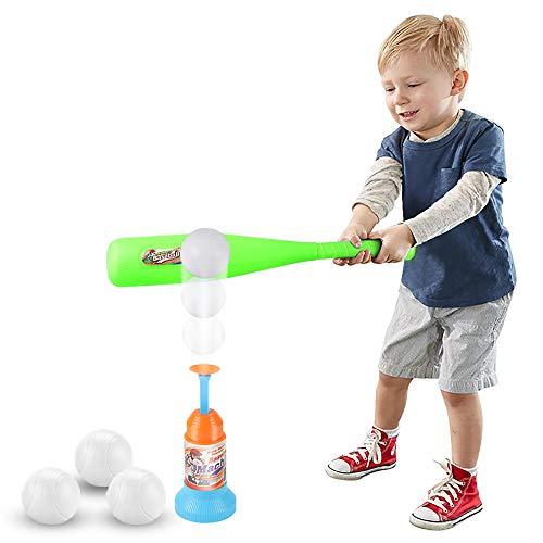 LITTLEFUN 2-in-1 T-Ball-Set, 1 grüner Schläger, 3 Bälle, automatischer Launcher Baseballschläger Spielzeug Indoor Outdoor Sport