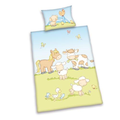 Herding Baby Best Kleinkinder-Bettwäsche-Set, Jana Bauernhof Tiere Wendemotiv, Bettbezug 100 x 135 cm, Kopfkissenbezug 40 x 60 cm, Baumwolle/Renforcé