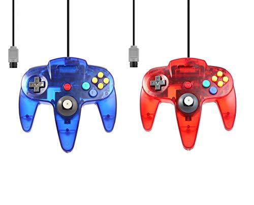2 mandos para Nintendo 64 N64 azul + rojo transparente con cable para Gamepad Joypad