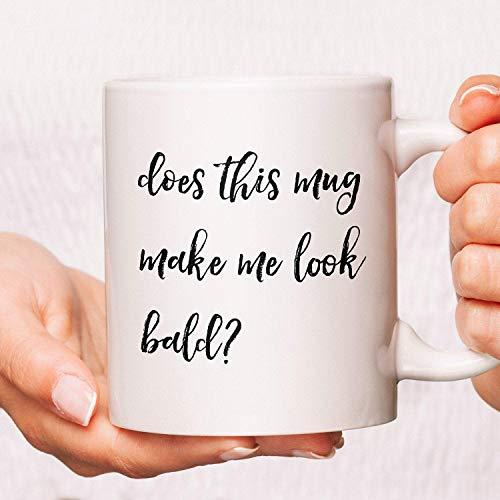 Lplpol Taza para el día del padre, tazas para papá, tazas para el día del padre, tazas para el día del padre, divertido papá, Does This Mug Make Me Look Bald Coffee Mugs Gifts