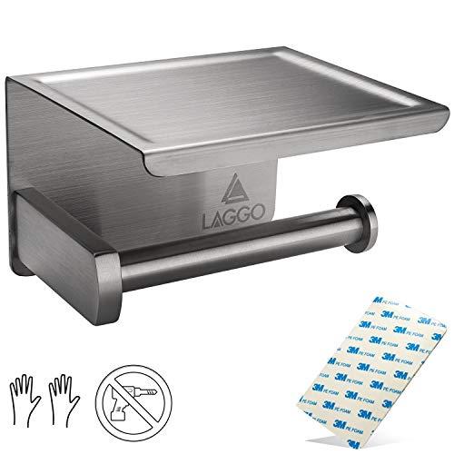 Laggo ® Toilettenpapierhalter ohne Bohren - aus hochwertigen Edelstahl SUS 304 - Klopapierhalter Selbstklebend - Mit (2 Stück) Klebe Pads für extremen Halt