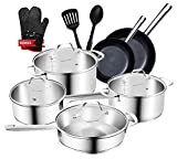 Stainless Steel Pots and Pans, Nonstick Cookware Set, 14-Piece Pans and Pots Set with a Bonus of...