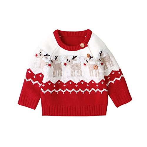 Bebé Suéter de Navidad para Recién Nacido Jersey Navideño de Manga Larga con Patrones de Reno Pullover Camiseta de Punto con Cuello Redondo de Botones para Niño Niña Unisex (Rojo, 0-3 Meses)