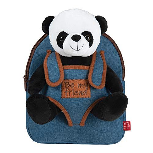 PERLETTI Kuscheltier Panda Rucksack für Kinder mit Plüschtier - Pluschspielzeug Weich Flauschig und Kindergarten Jeans Schultasche mit Plüsch Tier - Baby 3 4 5 Jahren Kindertasche 27x21x9 cm (Panda)