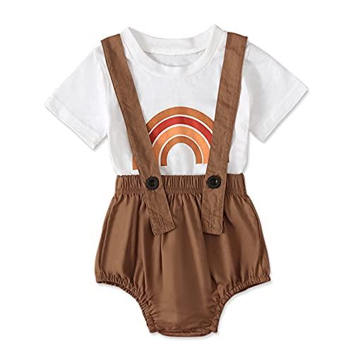 Mercatoo Conjunto de duas peças para bebês meninas com estampa de arco-íris de 0 a 24 meses