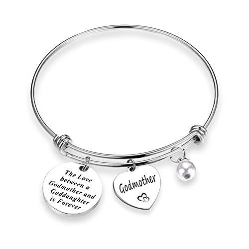 EIGSO Godmother Goddaughter Bracelet The Love Between Godmother and Goddaughter Jewelry First Communion Gift Baptism Gift (Godmother Love BR)