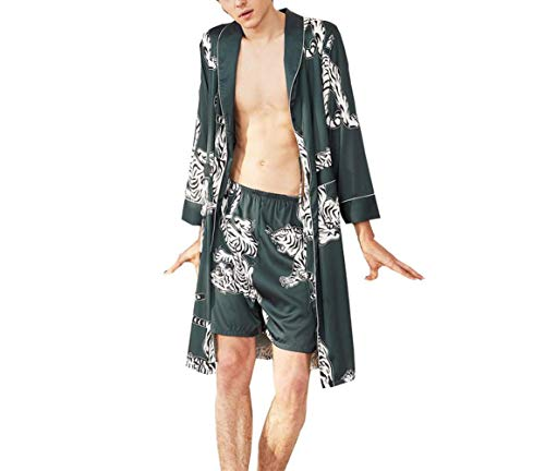 SAPJON Men's Pajama Satin Silk Sleepwear Robe with Shorts Sets Nightgown Soft Printed Bathrobes Darkblue