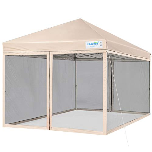 Quictent 8x8 Ft Easy Pop up Canopy with Netting Screen House Tent Instant Set up with Mesh Sides Walls (Tan)