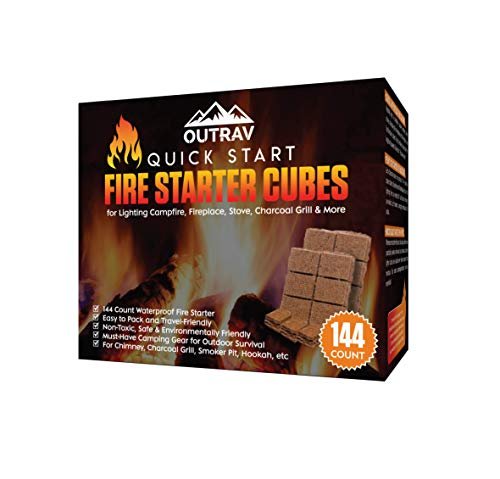 Outrav Fire Starter Cubes, 144ct Charcoal Firestarter Squares for Lighting Fireplace, Wood Stove, Grill, Campfire, BBQ Smoker Pit – Mini Nontoxic Waterproof Fire Starting Bricks for Camping, Survival