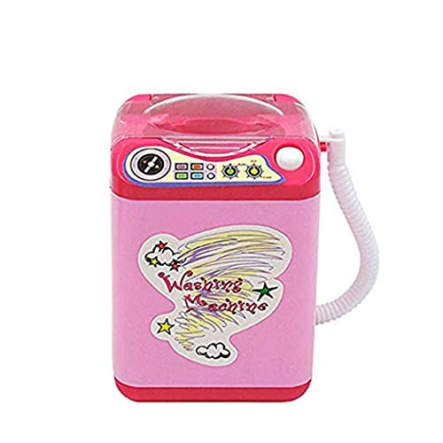 Markest Kids Toy Lavatrice Mini Automatic Powder Puff Washer Electric Brush Brush Cleaner Simulato famiglia finta Gioca Dollhouse Washer Cute Spinner Machine,Wind