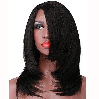 Femme synthétique Lace Front Perruque L supplémentaire courtes droites Yaki Noir naturel partie du milieu Bob Bob Coupe Carnaval Perruque naturelle de