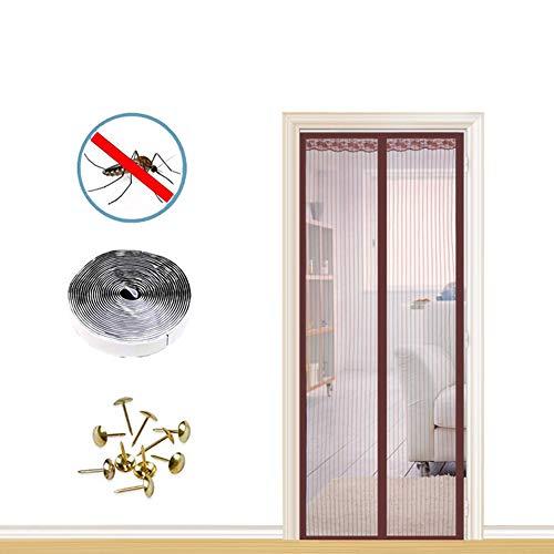 Sommer magnetische Soft Screen Tür, Verschlüsselung stumm Anti-Moskito Tür Vorhang, Magnetstreifen Klettverschluss + Reißzwecke-Brown-90x200 cm (WxH)