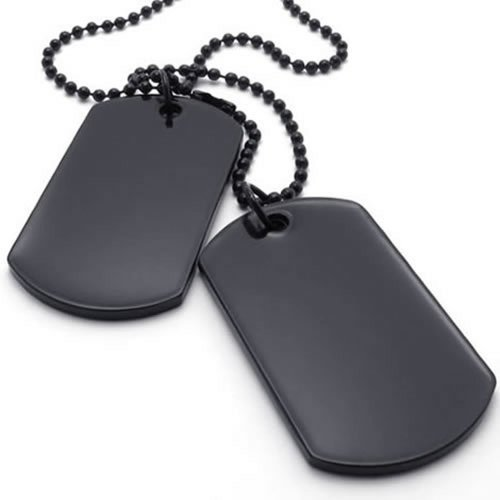 Flongo Collier Pendentif Alliage Dog Tag Plaque Militaire Nom Pr/énom Style Militaire Arm/ée Cha/îne Fantaisie Bijoux Cadeau Couleur Noir Argent pour Homme