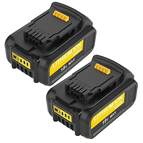 [2 X DCB200] Topbatt 18V 5.0Ah Sostituzione per Dewalt batteria DCB184 DCB200 DCB182 DCB180 DCB181 DCB182 DCB201
