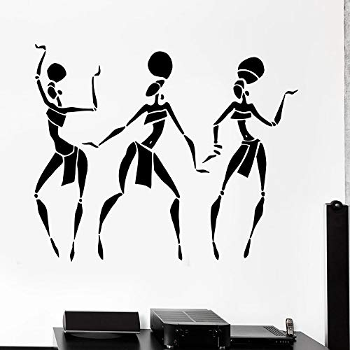 fdgdfgd Afrikanische Frau Wandtattoo Amerikanische Mädchen Tanz Mode Tür Fenster Vinyl Aufkleber Mädchen Schlafzimmer Beauty Salon Innendekor 57x69 cm
