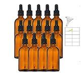 14x30ml Bottiglie Marrone,Flaconi ambra in Vetro con Pipette Contagocce e tappo sigillo nero per Laboratorio,olio essenziale, Aromaterapia, tintura madre 14 Pcs
