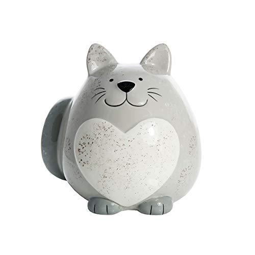 SPOTTED DOG GIFT COMPANY Katze Spardose Sparschwein Keramik Deko Figur Grau mit weiß Herz 13 cm Geschenk für Kinder und Erwachsene Mädchen Jungen Katzenliebhaber