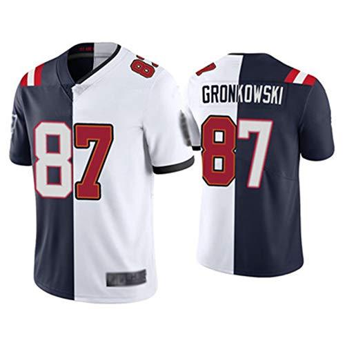 GRōnkwskì - Camiseta de rugby para hombre, manga corta, bordada, talla 87, para fútbol americano, transpirable, unisex, cuello en V, color blanco, azul y XXXL