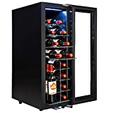 AKDY 20 Bottle Touch Panel Single Zone Chrome Wire Standing Shelves Freestanding Compressor Key Lock Black Wine Cooler