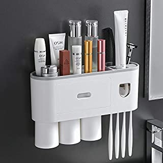 LucaSng Toothbrush Holder for Bathroom, Toothbrush Holder Wall Mounted with Automatic Toothpaste Dispenser 、3 Magnetic Too...