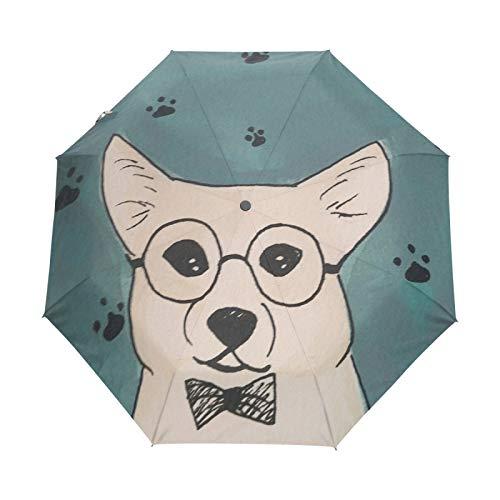 Kleiner Reiseschirm Winddicht im Freien Regen Sonne UV Auto Compact 3-Fach Regenschirm Abdeckung - Tier Corgi Dog Paw Pattern