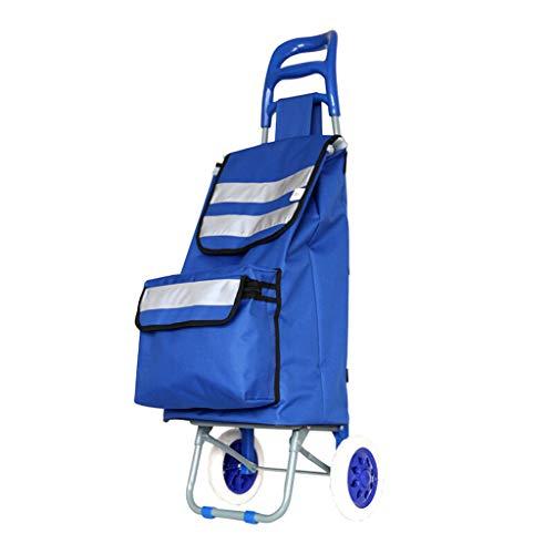 TLMYDD Forme Las Compras Abarrotadas Que Hacen Compras La Carretilla Portátil Carretilla (Color : Blue, Size : 36 * 28 * 100CM)