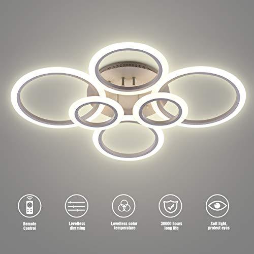 Lámpara de techo LED, SOLVE 72W Lámpara de techo LED 6400LM Blanco 6 anillos Accesorio de iluminación para sala de estar, dormitorio, comedor, control remoto regulable, atenuación continua