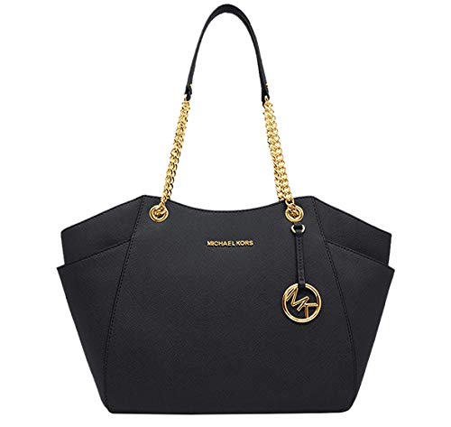 "Size Approximate Measurements: 11"" -14"" (L) x 10.5"" (H) x 4.5"" (D) Saffiano leather Gold-tone hardware Double handles with leather & chains with 10""shoulder drop Interior: 1 zippered pocket & 2 slip pockets"