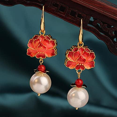 CXWK Pendientes de Gancho de Rosas Cloisonne Largos Vintage, Colgante de Flor roja Delicada étnica, Pendientes Colgantes, joyería Femenina Moderna para Mujeres